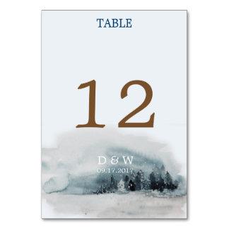 Cartão Número azul da mesa do casamento do país das