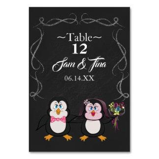 Cartão número bonito da mesa do casamento do pinguim