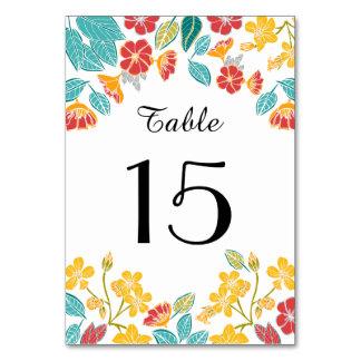 Cartão Número botânico brilhante floral bonito da mesa