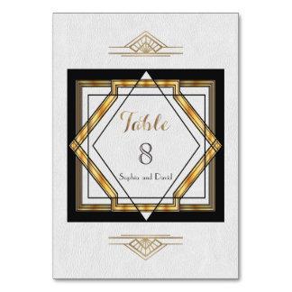Cartão NÚMERO branco da MESA do art deco do grande ouro