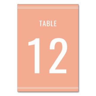 Cartão Número branco da mesa do texto do casamento coral