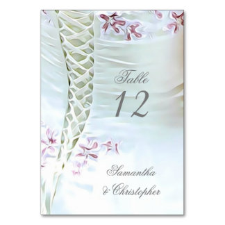 Cartão Número branco e cor-de-rosa da mesa do casamento