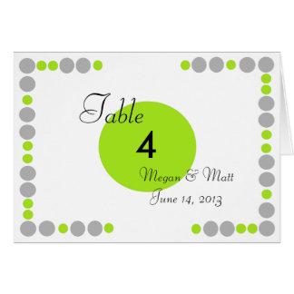 Cartão Número chique da mesa da silhueta & dos pontos do