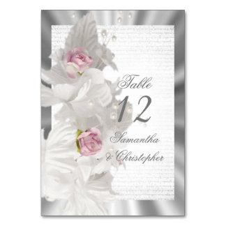 Cartão Número cor-de-rosa floral branco da mesa do