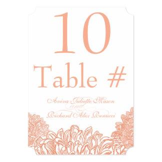 Cartão Número coral de florescência da mesa do casamento