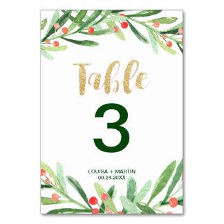 Cartão Número da mesa da grinalda do azevinho do Natal