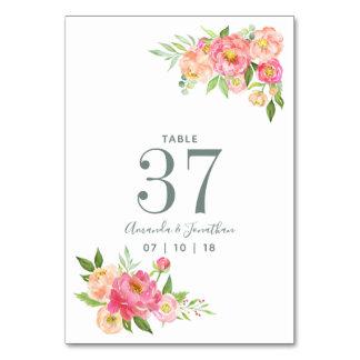 Cartão Número da mesa das peônias da aguarela do