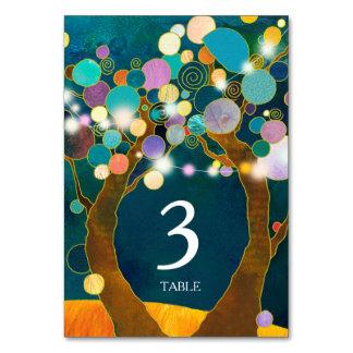 Cartão Número da mesa do casamento da cerceta das árvores