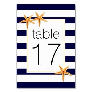 Cartão Número da mesa do casamento das listras & da