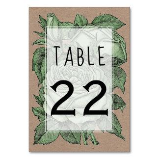Cartão Número da mesa do casamento do casamento vintage