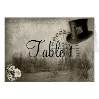 Cartão Número da mesa do casamento do chapéu alto do