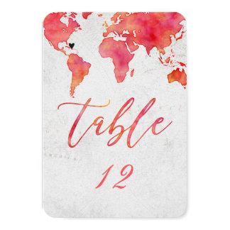 Cartão Número da mesa do casamento do mapa do mundo da