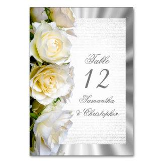 Cartão Número da mesa do casamento do rosa branco