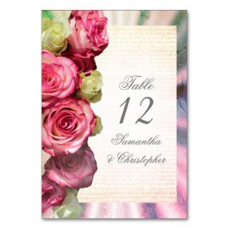 Cartão Número da mesa do casamento do rosa do rosa