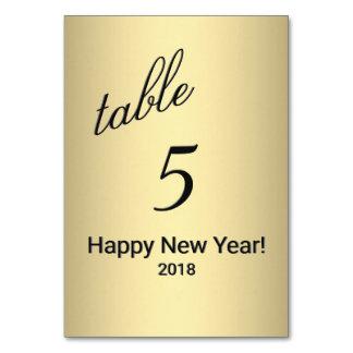Cartão Número da mesa do ouro do feliz ano novo