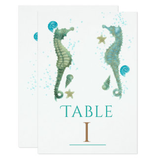 Cartão Número da mesa do partido da praia da aguarela de