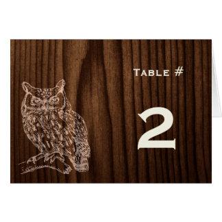 Cartão Número de madeira escuro da mesa da recepção de