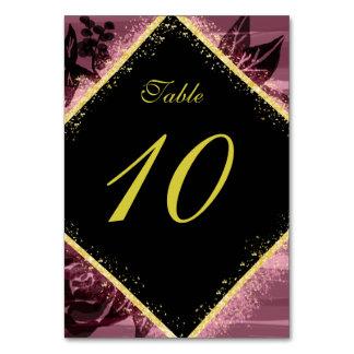 Cartão Número do roxo e da mesa do ouro