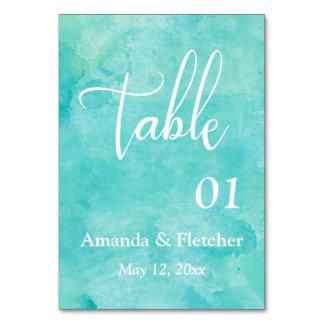 Cartão Número elegante da mesa do casamento da aguarela