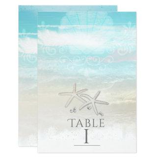 Cartão Número elegante da mesa do verão da estrela do mar