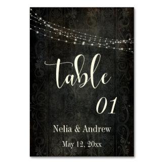 Cartão Número escuro da mesa da tipografia do creme do