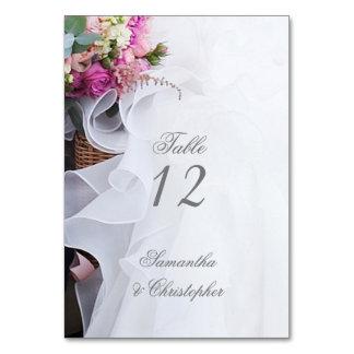 Cartão Número floral cor-de-rosa da mesa do vestido de