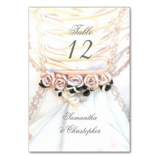 Cartão Número floral da mesa do vestido de casamento do