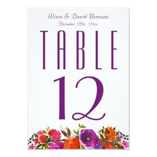 Cartão Número floral roxo alaranjado profundo da mesa do
