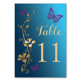 Cartão Número floral roxo da mesa de borboletas do ouro