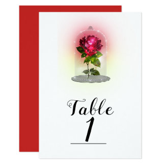 Cartão Número mágico Enchanted da mesa da rosa vermelha