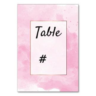 Cartão Número romântico da mesa do fundo da aguarela