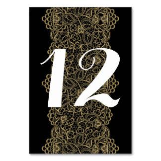 Cartão Número simples da mesa do casamento do laço