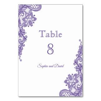 Cartão Número ultravioleta moderno da mesa do casamento