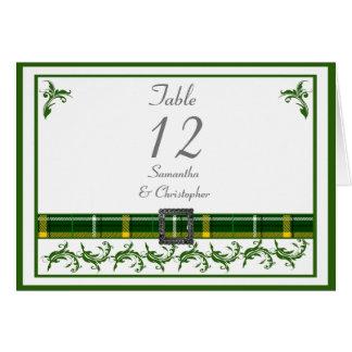 Cartão Número verde da mesa do tartan