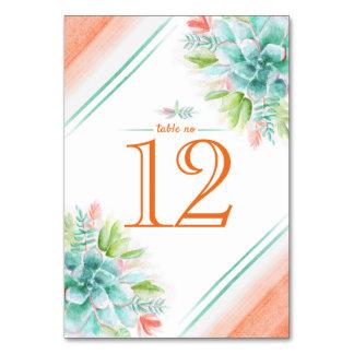 Cartão Números alaranjados da mesa do verde da aguarela