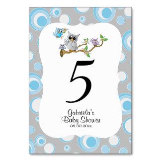 Cartão Números azuis & cinzentos da mesa do tema do chá