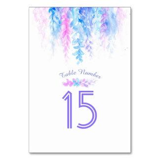 Cartão Números azuis de conexão em cascata da mesa da