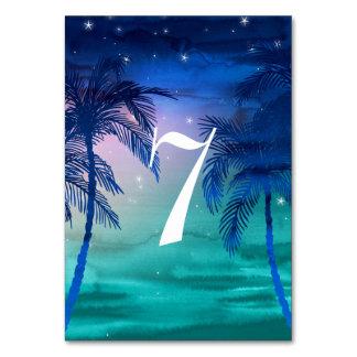 Cartão Números azuis & verdes da cerceta da palmeira da