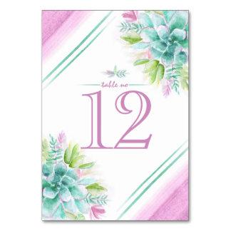 Cartão Números da mesa da arte da aguarela dos Succulents