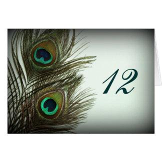 Cartão Números da mesa da pena do pavão