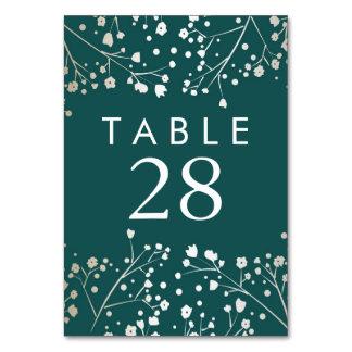 Cartão Números da mesa do casamento da cerceta da