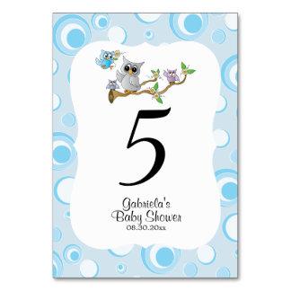 Cartão Números da mesa do tema do chá de fraldas da