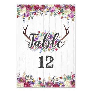 Cartão Números florais da mesa do casamento do buquê do