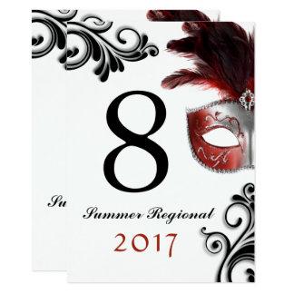 Cartão Números laterais duplos da mesa do mascarada