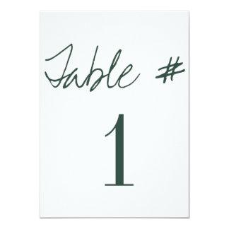 Cartão Números modernos da mesa do casamento da