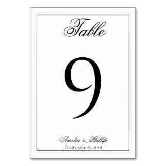 Cartão Números preto e branco elegantes da mesa do