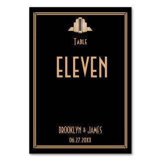 Cartão Números pretos da mesa do casamento de Gatsby do