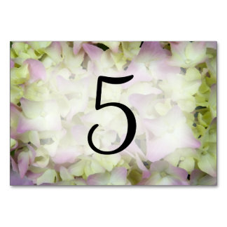 Cartão Números quase cor-de-rosa da mesa do Hydrangea