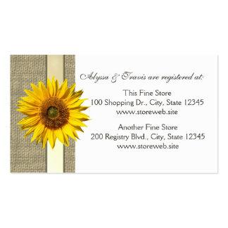 Cartão nupcial do registro de serapilheira e de cartão de visita