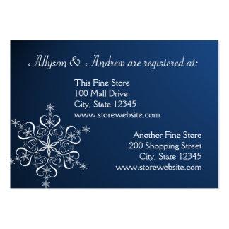 Cartão nupcial do registro do floco de neve azul e cartão de visita